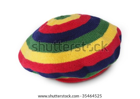 hand made Rasta cap isolated on white - stock photo