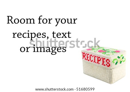 Hand Made Recipe box isolated on white with room for your text or images - stock photo