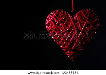 Hand made red heart - symbol of love