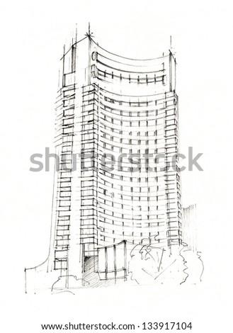 Hand Made Sketch Of A Modern Hotel