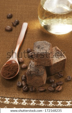 Hand-made soap with coffee and olive oil