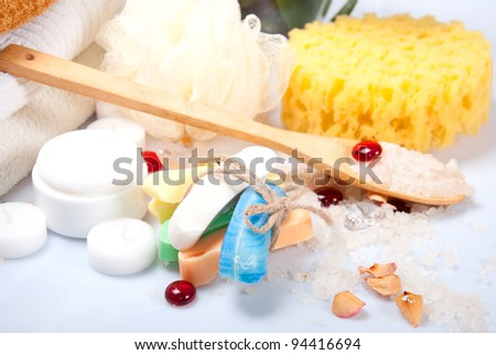Hand-made soap with sponge and cream