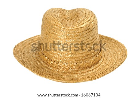 Hand made straw hat isolated on white - stock photo