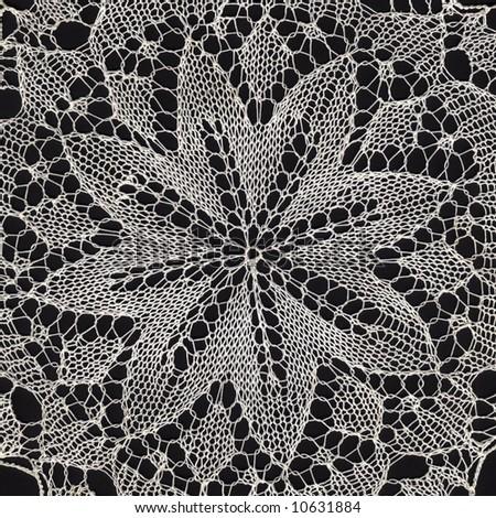 Hand made vintage floral design knit work - stock photo