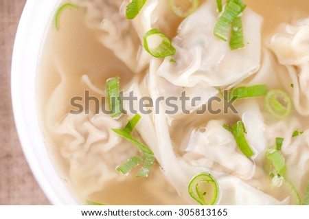 hand made won tons stuffed with pork in a delicious broth - stock photo