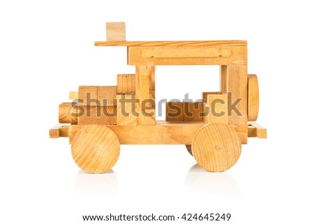 Hand made wooden toy car over white background - stock photo