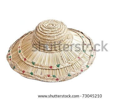 Hand made woven hat as white isolate background