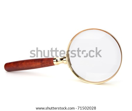 hand magnifier isolated on white background - stock photo