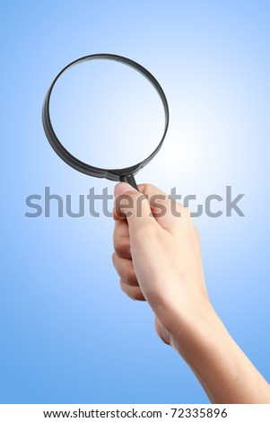 hand magnify glass - stock photo