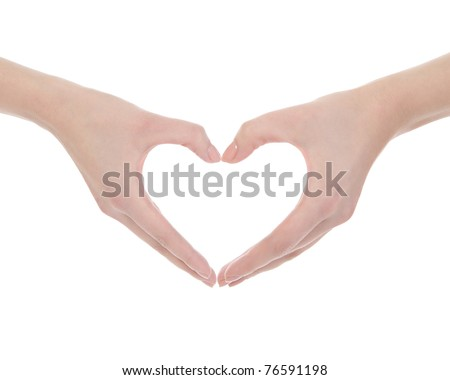 Hand make a heart. Isolated on white - stock photo