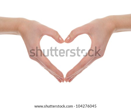 Hand make a heart. Isolated on white background - stock photo