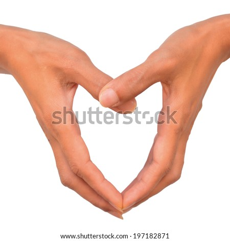 Hand make a heart. Isolated on white background