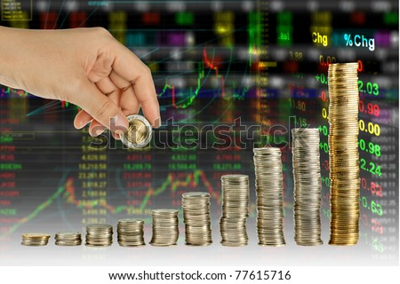 Hand make coin graph in stock index background - stock photo