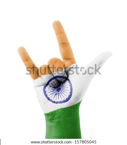 Hand making I love you sign, India flag painted, multi purpose concept - isolated on white background - stock photo