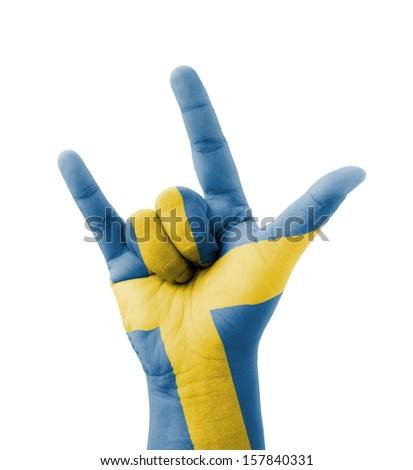 Hand making I love you sign, Sweden flag painted, multi purpose concept - isolated on white background - stock photo