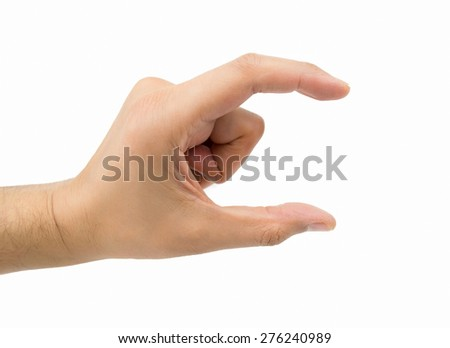 hand making the symbol that means pick up on white background - stock photo