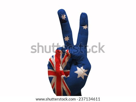 Hand making the V sign australia country flag painted - stock photo