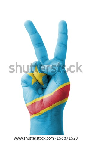 Hand making the V sign, Democratic Republic of the Congo flag painted as symbol of victory, win, success - isolated on white background - stock photo