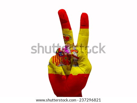 Hand making the V sign spain country flag painted - stock photo