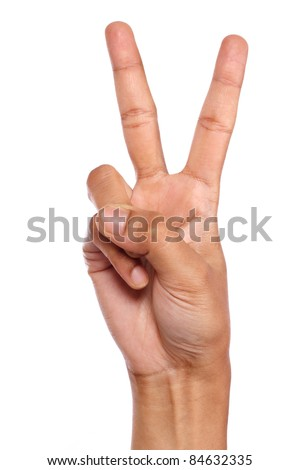 Hand making victory sign