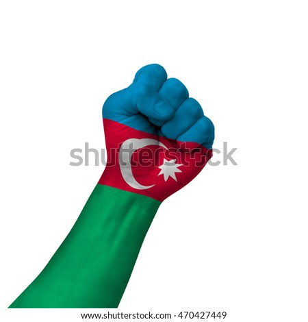 Hand making victory sign, azerbaijan painted with flag as symbol of victory, resistance, fight, power, protest, success - isolated on white background