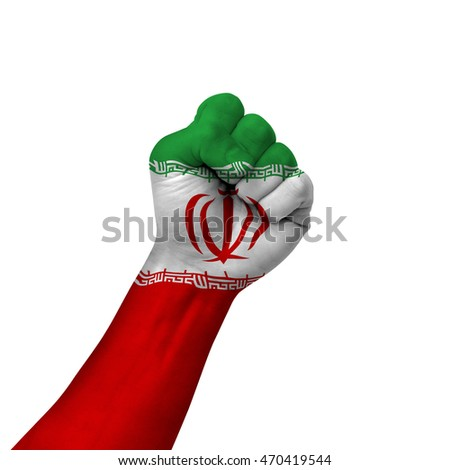 Hand Making Victory Sign Iran Painted Stock Photo Royalty Free