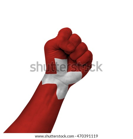 Hand making victory sign, switzerland painted with flag as symbol of victory, resistance, fight, power, protest, success - isolated on white background