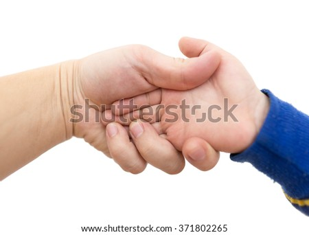 hand man and a boy on a white background