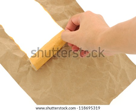 Hand man doing brown paper torn with copy space for text on white background - stock photo