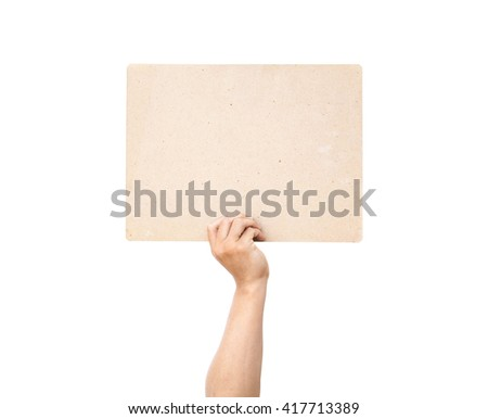 Hand man holding a sign board isolated background. - stock photo