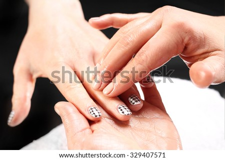 Hand massage.Massage hand care treatment at the beauty salon.