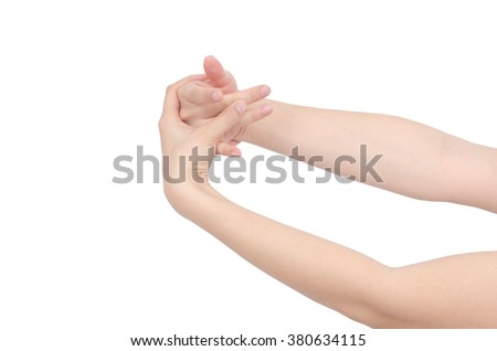 hand massage on white background ,with clipping path