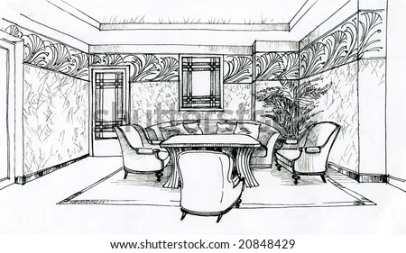 hand monochrome sketch of interior apartment Egyptian style