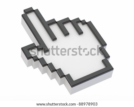 Hand. Mouse cursor on white isolated background. 3d - stock photo