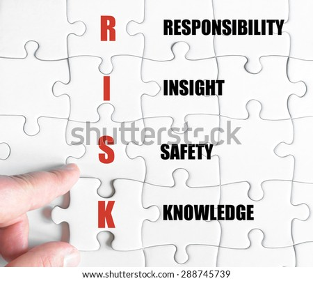 Hand of a business man completing the puzzle with the last missing piece.Concept image of Business Acronym RISK as Responsibility Insight Safety Knowledge - stock photo