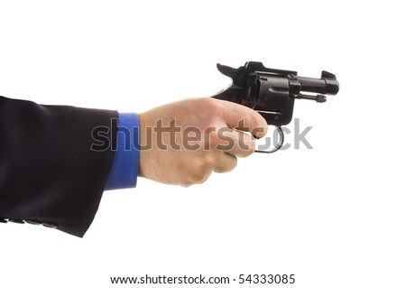 Hand of a business man holding a pistol on a white background