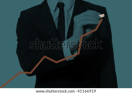 hand of a businessman drawing diagram, monochromatic cyan - stock photo