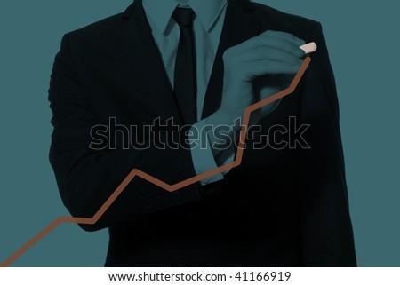 hand of a businessman drawing diagram, monochromatic cyan - stock photo