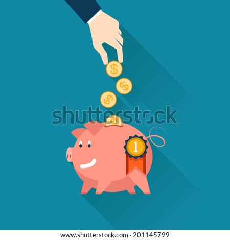 Hand of a businessman dropping gold coins into the slot of a piggy bank conceptual of money  finances  savings  investment and wealth illustration - stock photo