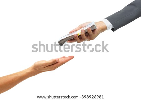 hand of a businessman giving a pile of banknote to the other hand / Loan concept / Politician buying vote - stock photo