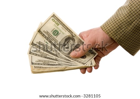 Hand of a businessman giving money to somebody