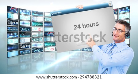 Hand of a businessman holding a white cable against confirm box - stock photo
