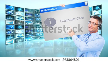 Hand of a businessman holding a white cable against customer care window - stock photo