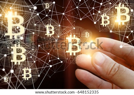Hand Of A Businessman With Bitcoin In The Network