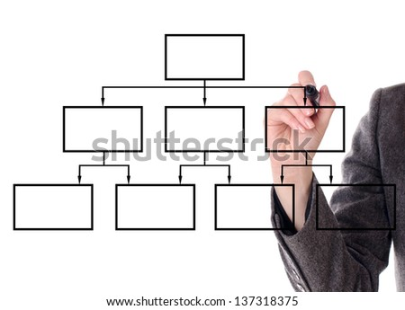 Hand of a businesswoman drawing a diagram on white background