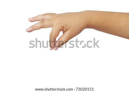 Hand of a caucasian female on white
