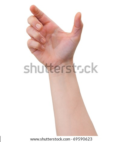Hand of a caucasian female to hold card, mobile phone or other palm gadget, isolated on white - stock photo