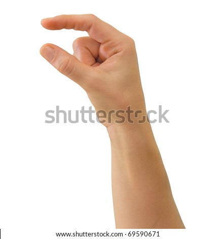 Hand of a caucasian female to hold some small object, isolated on white - stock photo