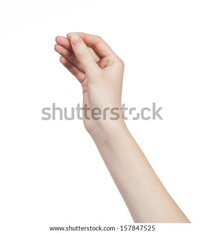 Hand of a caucasian female to hold some tiny or thin object, isolated on white - stock photo