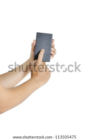 Hand of a caucasian male to hold card, mobile phone, tablet PC or other palm gadget, isolated on white. - stock photo